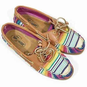 Sperry Top Sider rainbow multi color loafers